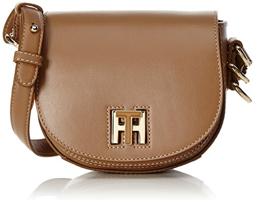 Tommy Hilfiger Th Twist Leather Mini Crossover, Sacs bandoulière femme, Braun (Tan), 6x15x17 cm (L x H P)