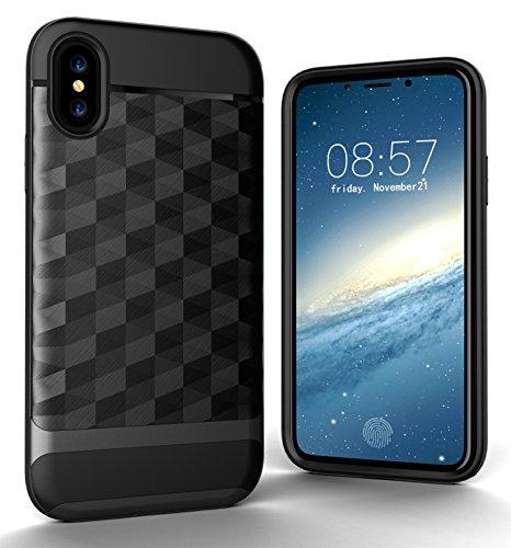 CaseforYou Hülle iphone X Schutz Gehäuse Hülse 3D RhombusBrushed Texture Anti Shock Cover Anti-Slip Protective Shell Schutzhülle für iphone X (Golden) Grey