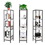 HOMFA 3x Bücherregal Bücherschrank Standregal Metallregal Wandregal Badregal Küchenregal Aktenregal Schrank Regal 4 Ablage mit 2 Schubladen, Schwarz Metall 40*40*172cm