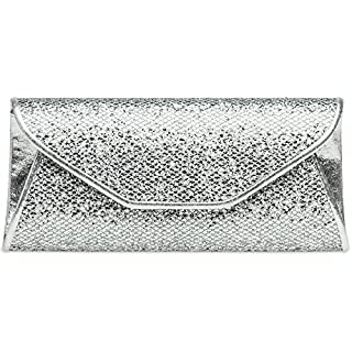 CASPAR TA347 Damen elegante Glitzer Clutch Tasche/Abendtasche, Farbe:silber;Größe:One Size