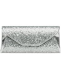 CASPAR TA347 Damen elegante Glitzer Clutch Tasche/Abendtasche