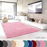 Teporio Shaggy-Teppich | Flauschiger Hochflor fürs Wohnzimmer, Schlafzimmer oder Kinderzimmer | Einfarbig, schadstoffgeprüft, allergikergeeignet in Farbe: Rosa; Größe: 40 x 60 cm