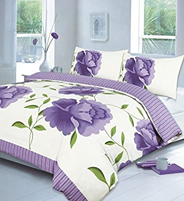 RAYYAN LINEN'S 3PCs ROSALEEN WHITE LILAC SUPER KING Duvet Quilt Cover with Pillow Cases Bedding Set in Size SUPER KING ALL NEW by NZ