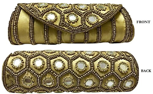 SPHINX Contemporary Ethnic handcrafted Golden hand bag/clutch for Women/Girls - 1 Piece  available at amazon for Rs.449