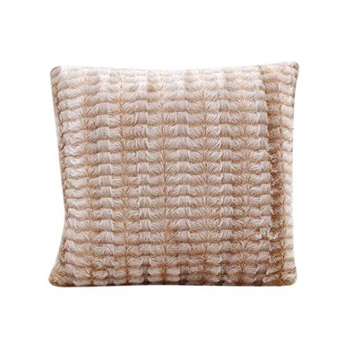 Decorie Simplicity Elegant Plush Throw Cushion Cover for Sofa Home Decor (Khaki)