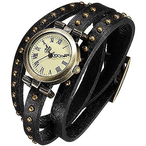 Minetom Orologio Polso Al Quarzo Intrecciato Rivet Pelle Bracciale Donna Cinturino Wrist Watch