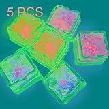 Xiaochou@sl Color Slow Flash LED-Beleuchtungslicht Eiswürfel für den Valentinstag 5 Stck Dekoration (Artikelnummer : Hc7898b)