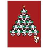100er Set Süße Unternehmen Weihnachtskarten mit Engel Weihnachtspyramide, rot, innen blanko/ weiß als Weihnachtsgrüße geschäftlich / Neujahrskarte / Firmen Weihnachtskarte für Kunden, Geschäftspartner, Mitarbeiter: Frohe Weihnachten