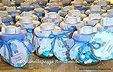 Vasetto barattolino bomboniera o segnaposto per battesimo comunione cresima compleanno con gessetti profumati completo di confetti.