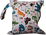 Baby Waterproof Zipper Bag Washable Reusable Baby Cloth Diaper Bag w/ Animals and Flowers Pattern Beige