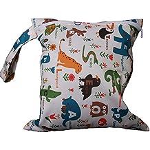 Bolsa de pañales con cremallera, impermeable, diseño de animales y flores, color beis