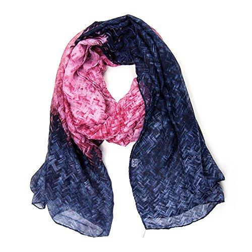 ManuMar Schal pastell Farbverlauf grau blau pink Damenschal Tuch Scarf Weicher Schal als edles Accessoire! Weihnachtsgeschenk Freundin Damen