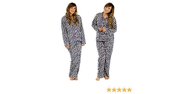 NEW Ladies Forever Dreaming Snuggle Shaggy Fleece Animal Print Pyjama Set Gift