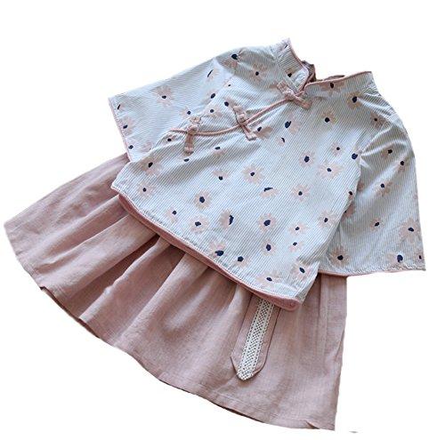Top Set Kleidung, zwei Stücke von Qipao und Rock für 3-8 Jahre alt (Blume Festival Kostüm Für Jungen)