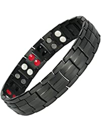 MPS® EUROPE Bio 4 Elements Jet Black Titanium Magnetic Bracelet with Fold-Over Clasp for Men + Free Links Removal Tool