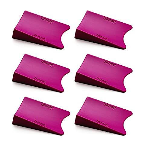 THE #1 Rated Doorstop. Outperforms all other door stops and door wedges. Its unique Award winning design holds doors fast from both sides at the same time. Premium Non Rubber Hardware. Food-grade materials. BpA, Lead and Phthalate free. UL Tested. (Six pack, Cerise Pink)