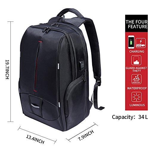 Imagen de kalidi , laptop  backpack para ordenador portátiles ajusta hasta 17,3 pulgadas,  impermeables de escuela de negocios, negro alternativa