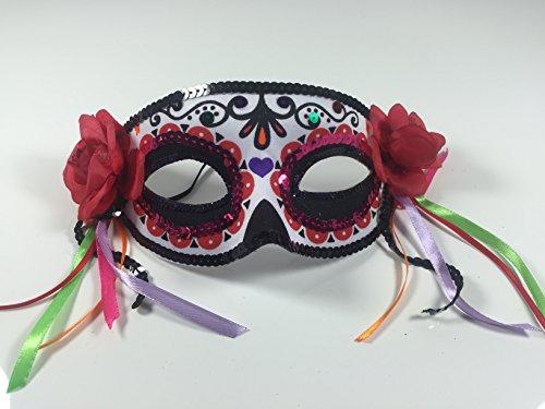 Augen-Maske mit Pailletten, Rosen und bunten Bändern (La Muerte Kostüme)