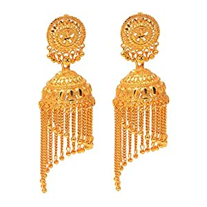 6a816dac2 ... Jewar Mandi Gold Plated Earrings jhumka chandbali Look Design one Gram  Plated