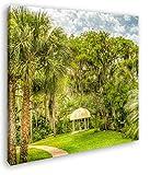 deyoli Pavillon in Bezaubernder Landschaft in Florida im Format: 70x70 als Leinwandbild, Motiv fertig gerahmt auf Echtholzrahmen, Hochwertiger Digitaldruck mit Rahmen, Kein Poster oder Plakat