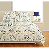 Swayam Zinnia Collection Cotton Satin Double Bedsheet With 2 Pillow Covers - Multicolor