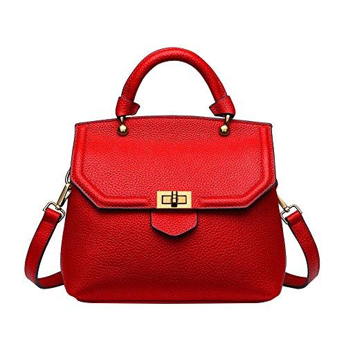 Mena Uk Borsa del messaggero del sacchetto della copertura del sacchetto di spalla del cuoio di modo delle donne Rosso