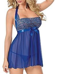 Goodid pijama de tallas grandes con tanga para mujer-Azul