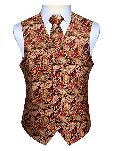 Hisdern Manner Paisley Floral Jacquard Weste & Krawatte und Einstecktuch Weste Anzug Set, Braun und Orange, Gr.-2XL (Brust 51 Zoll) (Hochzeit Weste Braun)
