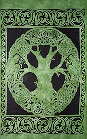 Grün & Schwarz Keltischer Baum Sofa Bett Stuhl Überwurf verteilt Wandbehang Tagesdecke