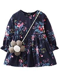 Vestido para Niñas, ZARLLE Ropa Bebe Niña Vestido de Manga Larga con Cuello Redondo Vestido Floral Vestido de Princesa + Bolsa de…
