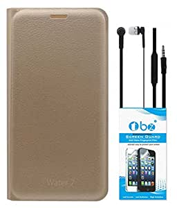 TBZ PU Leather Flip Cover Case for Lyf Water 7 with Earphone and Tempered Screen Guard -Golden