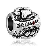 Uniqueen, charm con stampa a forma di zampa di cane con scritto Dog e Mum, con strass rossi, adatto per braccialetti Pandora