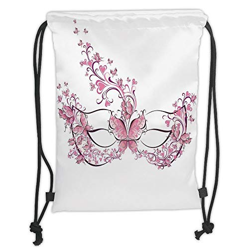string Backpacks Bags,Masquerade,Masks Carnival Dress Centuries Old Tradition of Venice Theme Design Print,Pink and White Soft Satin,5 Liter Capacity,Adjustable String Closure, ()