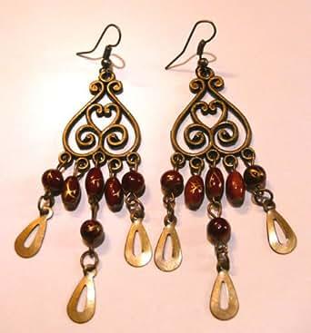 Boucles d'Oreilles Ethnique Bijoux Bohème Métal Inde Indiennes artisanal hippie MARRON