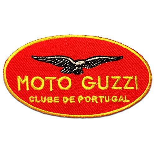 Aufnäher/Bügelbild - Moto Guzzi Biker Logo - rot - 12,0 x 6,3 cm - Patch Aufbügler Applikationen zum aufbügeln Applikation Patches Flicken (Jacke Moto Mädchen)