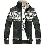 Weihnachten Schneeflockenmuster Casual Cardigan Fashion Kragen Männer Dicker Wolle Jacke Grün XXL