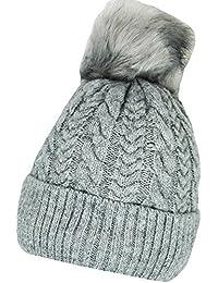 Mevina Damen Mütze Bommel Strickmütze Zopf Winter mit Teddyfleece Innenfutter und großem fake Pelz Bommel Wintermütze