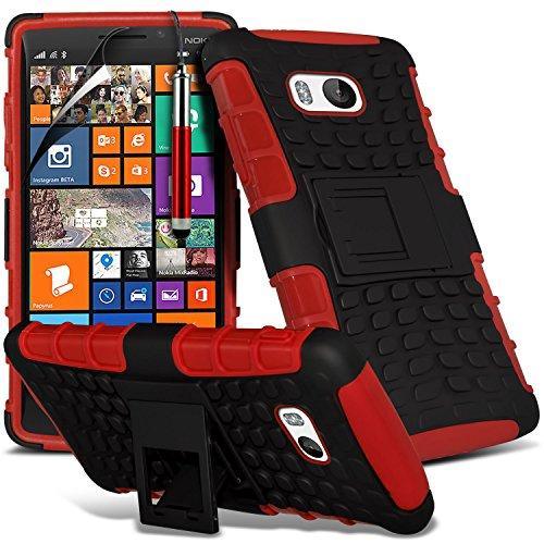 ( Blue ) Nokia Lumia 930 Tough Survivor Fest Rugged Shock Proof Heavy Duty Case W / Back-Stand, LCD-Display Schutzfolie, Poliertuch und Mini-versenkbaren Stift durch Spyrox Shock Proof + Stylus ( Red )