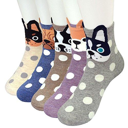 CaiDieNu Damen Baumwolle Niedlich Karikatur Tiere Charakter Socken Lustige Verrückte Motiv Witzig Socken Damen,5 Parre -