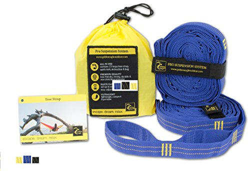 GOLDEN EAGLE Hammock Straps für alle Hängematten. Länge 3m, 23 Loops, non-stretching polyester. PREMIUM QUALITÄT (blau) (Cord-a-line-top)