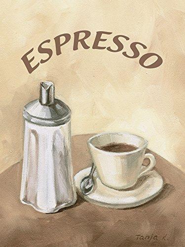 Artland Qualitätsbilder I Bild auf Leinwand Leinwandbilder Wandbilder 60 x 80 cm Ernährung Genuss Getränke Kaffee Malerei Creme A1MK Espresso Kaffee - Espresso Leinwand