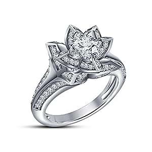 Vorra alla moda, a forma di fiore di loto in argento Sterling 925, con zirconia cubica a taglio rotondo e anello per anniversario, per fidanzamento, Argento, 11, colore: bianco, cod. 12345