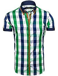 BOLF Herren Hemd Casual Kurzarm Shirt Slim Fit Freizeithemd Men 2B2 Motiv MIX