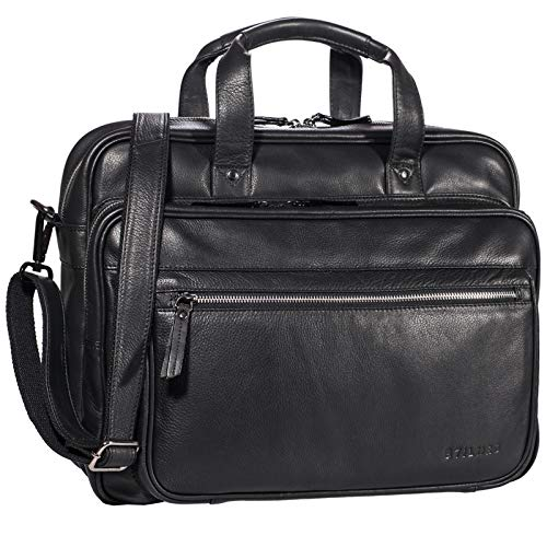 STILORD 'Walt' Vintage Aktentasche Leder Herren Damen Lehrertasche XL groß Büro Business Umhängetasche für 15,6 Zoll Laptop Echt Leder, Farbe:schwarz