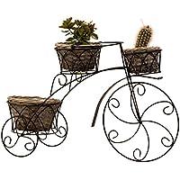 Elegante soporte de metal bicicleta planta con 3 plantas cestas negro altura 36 cm x 56