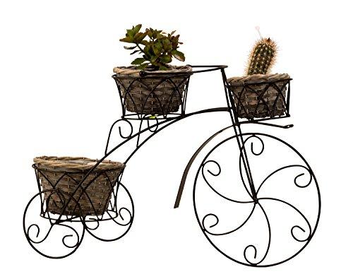 Elegante soporte de metal bicicleta planta con 3 plantas cestas negro altura 36 cm x 56 cm