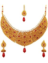 Touchstone Indian Hammered Work Alloy Metal White Crystals Faux Ruby Bridal Jewelry Necklace Set In Antique Gold...