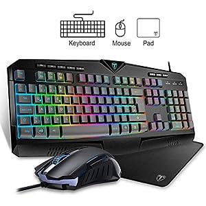 VicTsing Gaming Tastatur und Maus Set, 20 RGB Hintergrundbeleuchtung 25 Tasten Anti Ghosting 8 Multimedia Tasten(QWERTZ), 6 Tasten Gaming Maus(1000/1600/2400/3200DPI einstellbar) Mauspad(Schwarz)