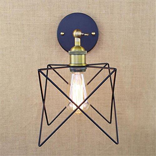 Industrial retro bronce portalámparas hierro formas geométricas pared lámpara de noche dormitorio Hotel Cafe Bar resturante centro comercial sótano garage pared luz interior Home Decor Vintage simple aplique pequeño,24.5cm*16.5cm