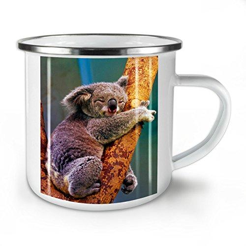 Wellcoda Koala Auf EIN Baum Emaille-Becher, Schleppend - 10 Unzen-Tasse - Kräftiger, griffiger Griff, Zweiseitiger Druck, Ideal für Camping und Outdoor